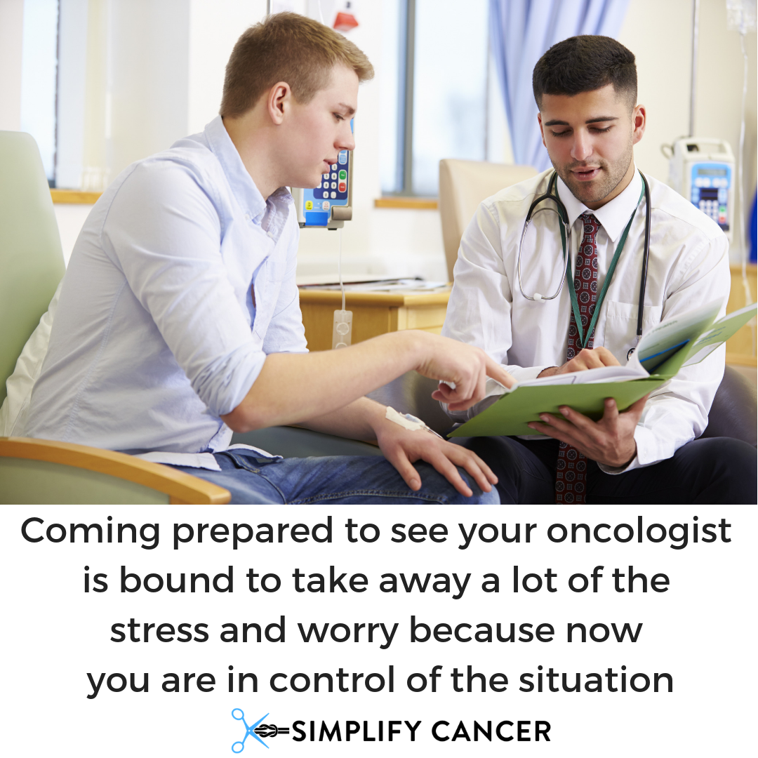 Coming prepared to see your oncologist is bound to take away a lot of the stress and worry because now you are in control of the situation