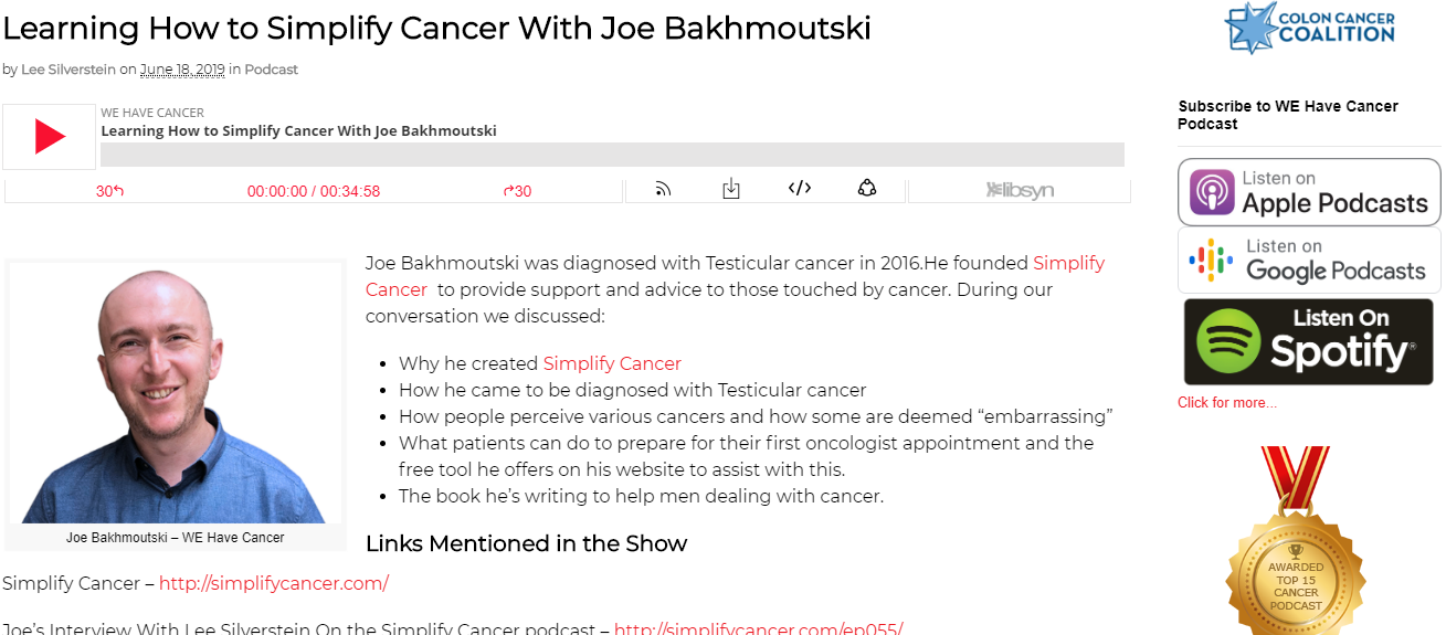 Learning How To Simplify Cancer with Joe Bakhmoutski